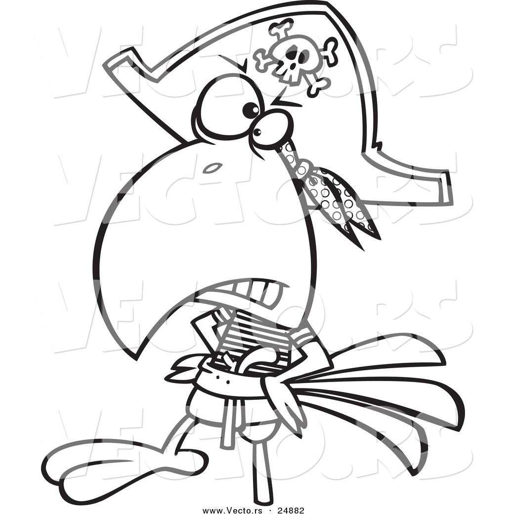 vector of a cartoon goofy pirate parrot with a peg leg outlined coloring page
