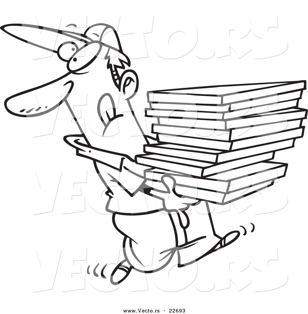 Vector of a Cartoon Goofy Pizza Delivery Boy - Coloring Page Outline ...