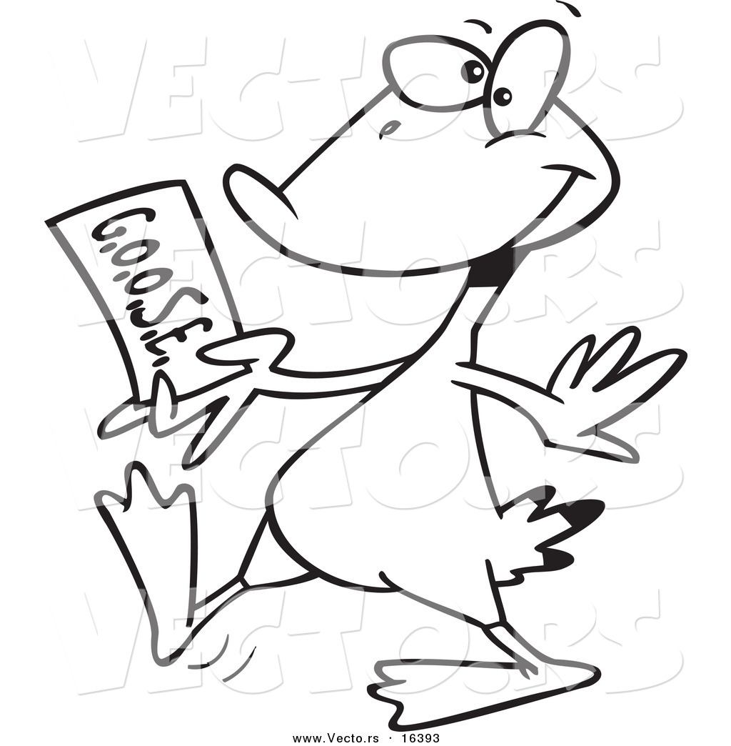 vector of a cartoon goose walking with a golden ticket outlined