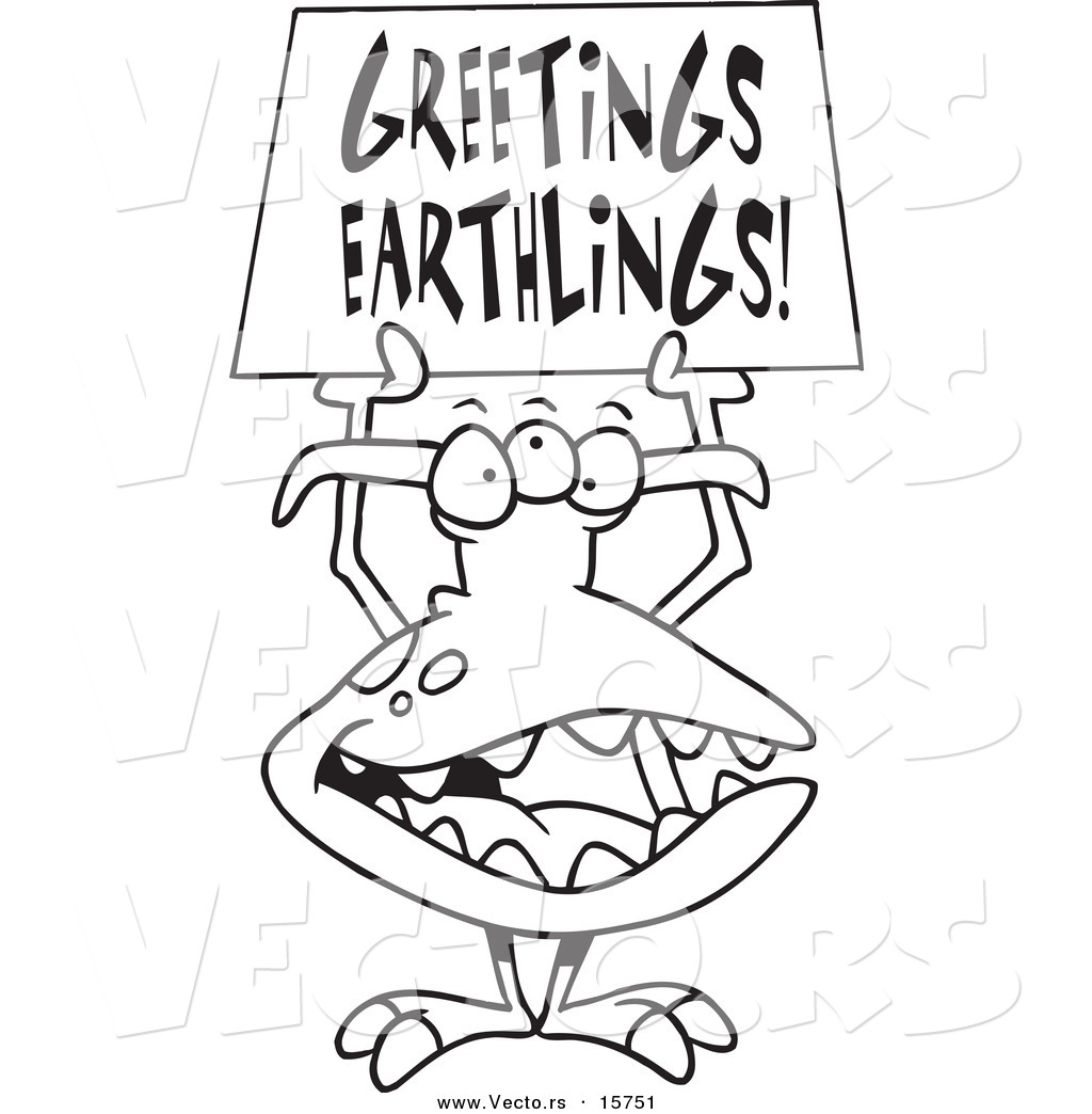 Free coloring pages aliens - Vector Of A Cartoon Greeting Alien Outlined Coloring Page Drawing