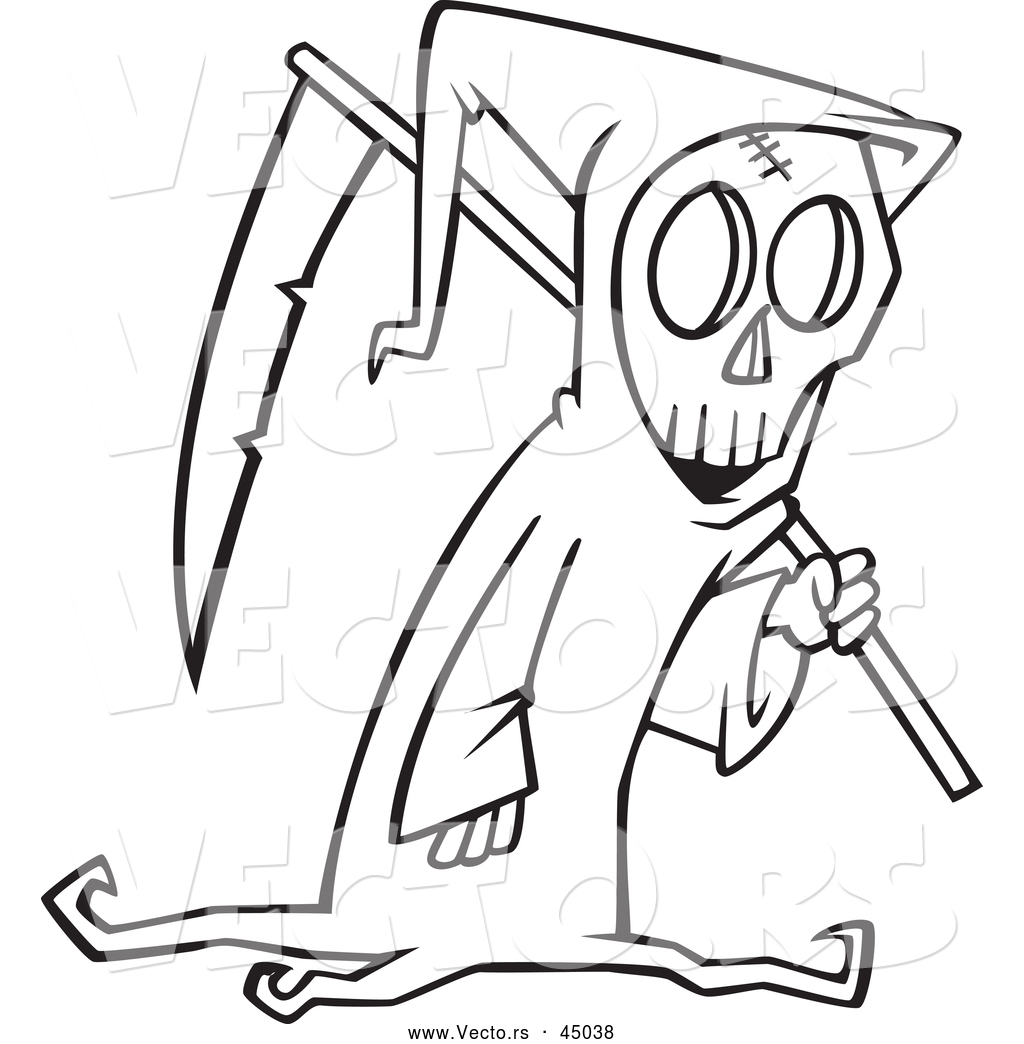 vector of a cartoon grim reaper carrying a scythe on halloween outline - Cartoon Outline Drawings