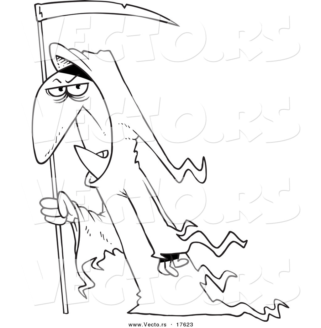 Vector of a Cartoon Grim Reaper with a Scythe Coloring Page
