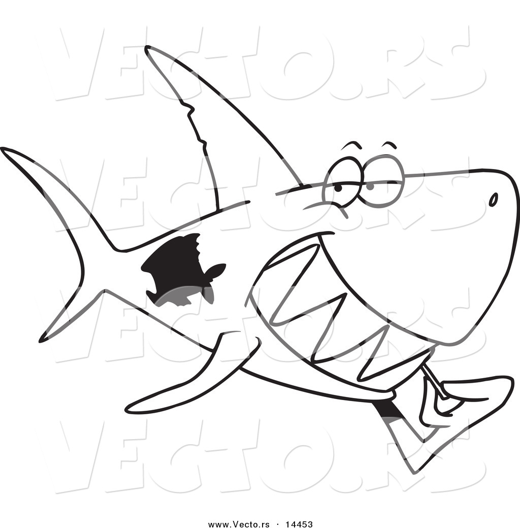 vector of a cartoon grinning shark using a toothpick coloring