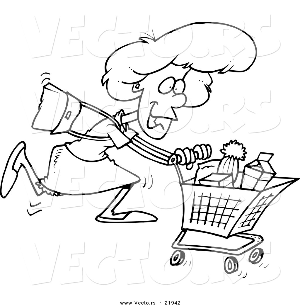 Vector Of A Cartoon Grocery Shopping Woman Outlined Coloring Page
