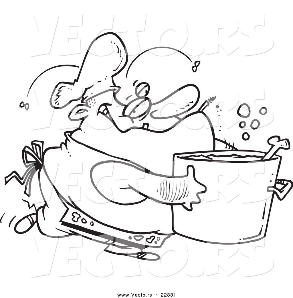 Vector Of A Cartoon Gross Chef Coloring Page Outline By Toonaday