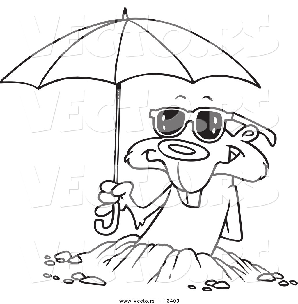 vector of a cartoon groundhog emerging with shades and an umbrella