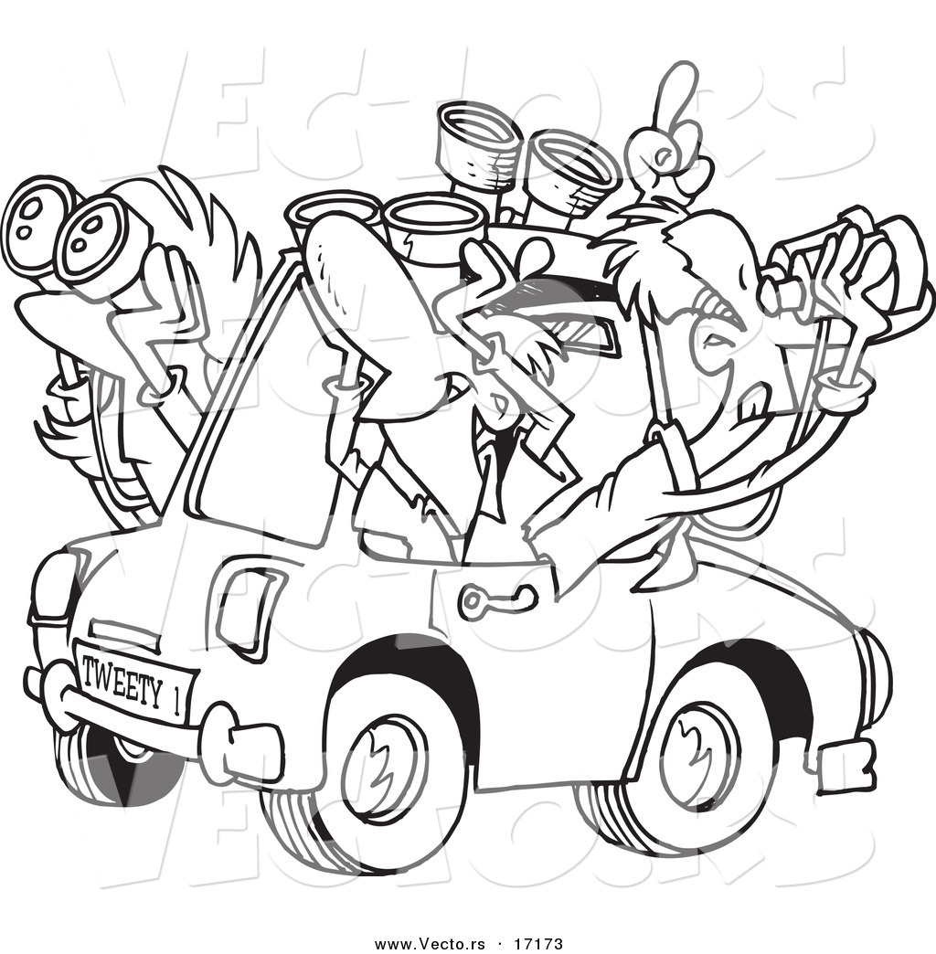 Vector Of A Cartoon Group Birders Using Binoculars In Car