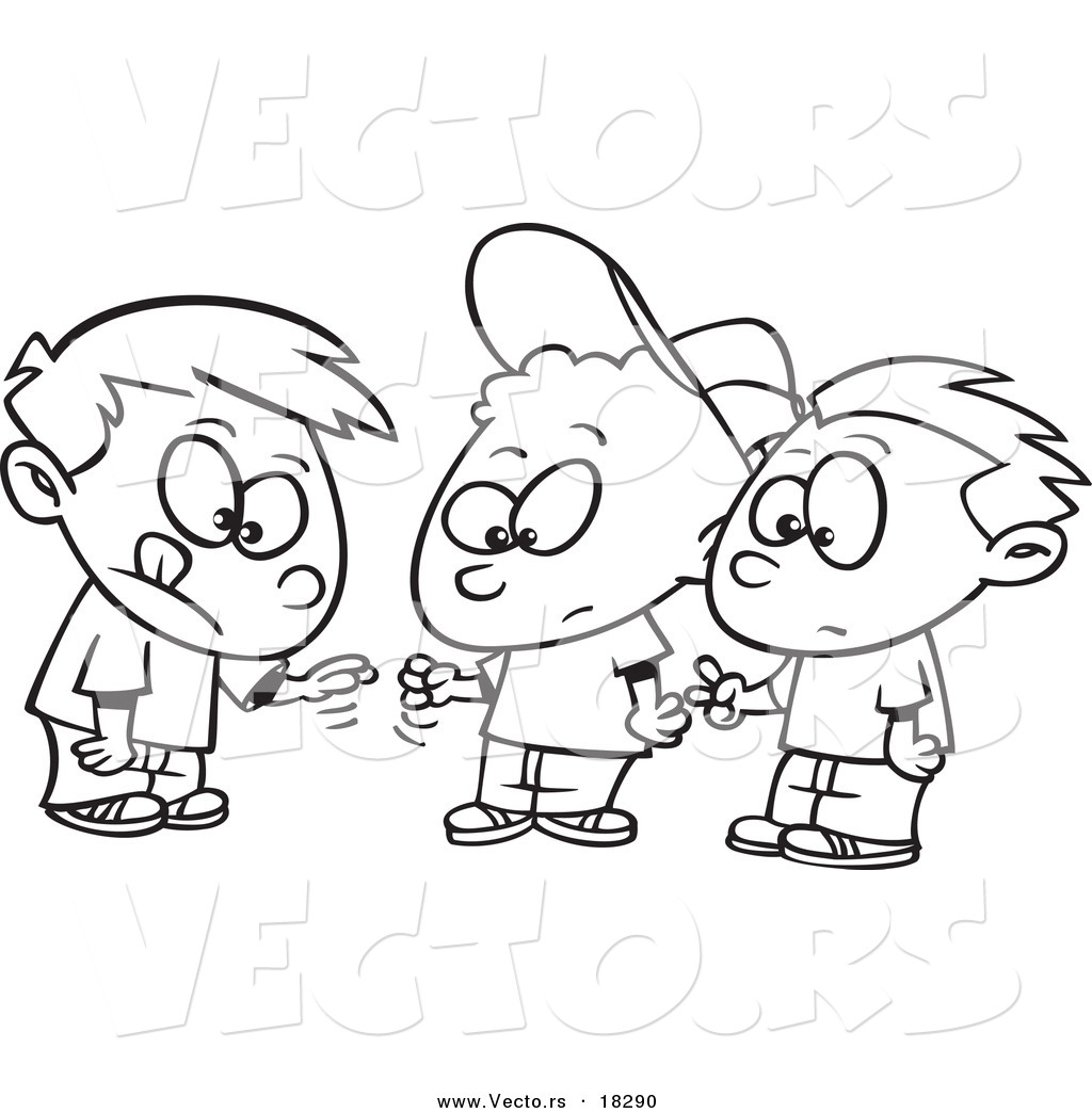 vector of a cartoon group of boys playing rock paper scissors outlined coloring page