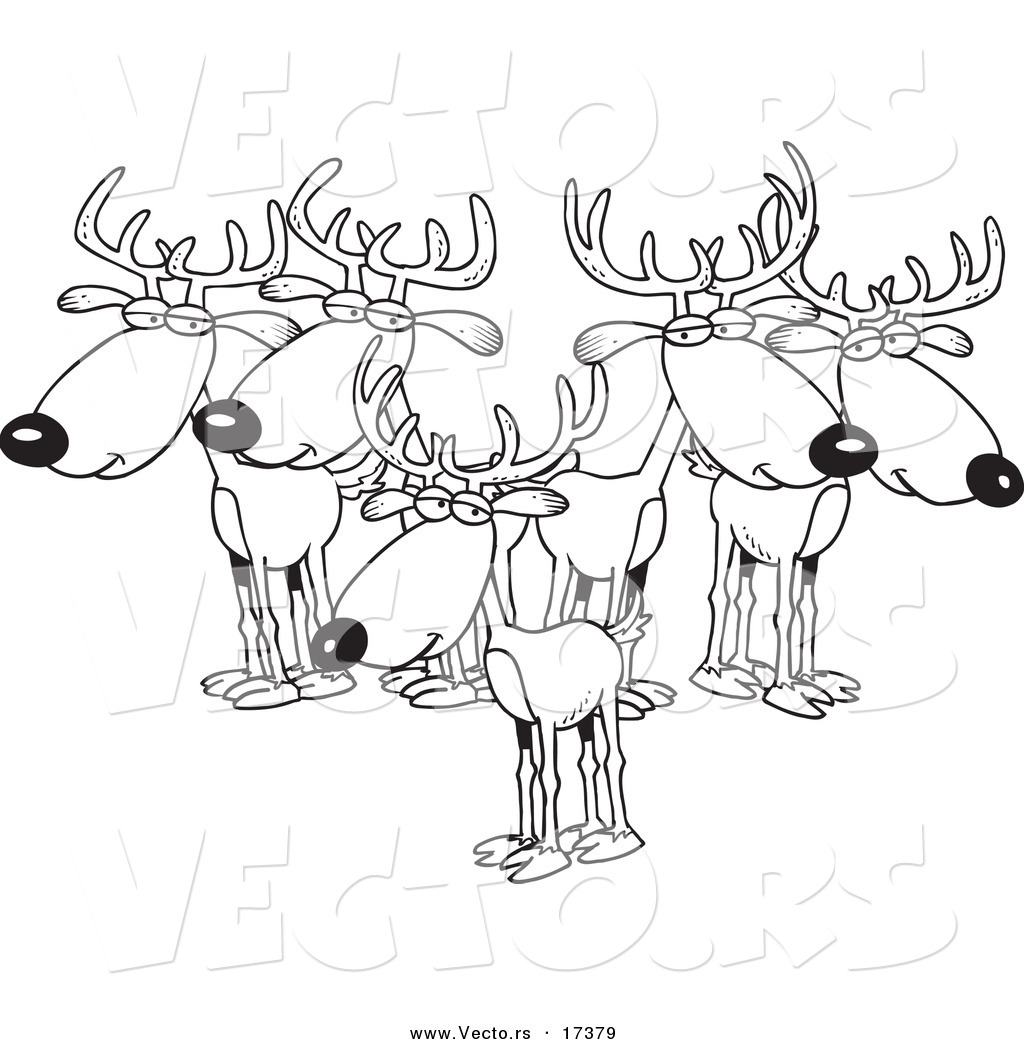 vector of a cartoon group of bucks coloring page outline by