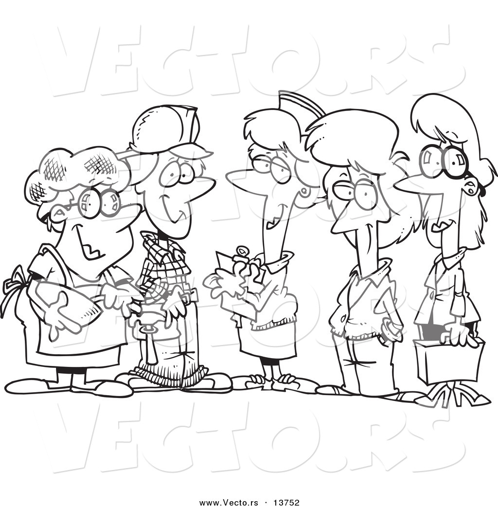 Vector Of A Cartoon Group Of Ladies From Different Occupations