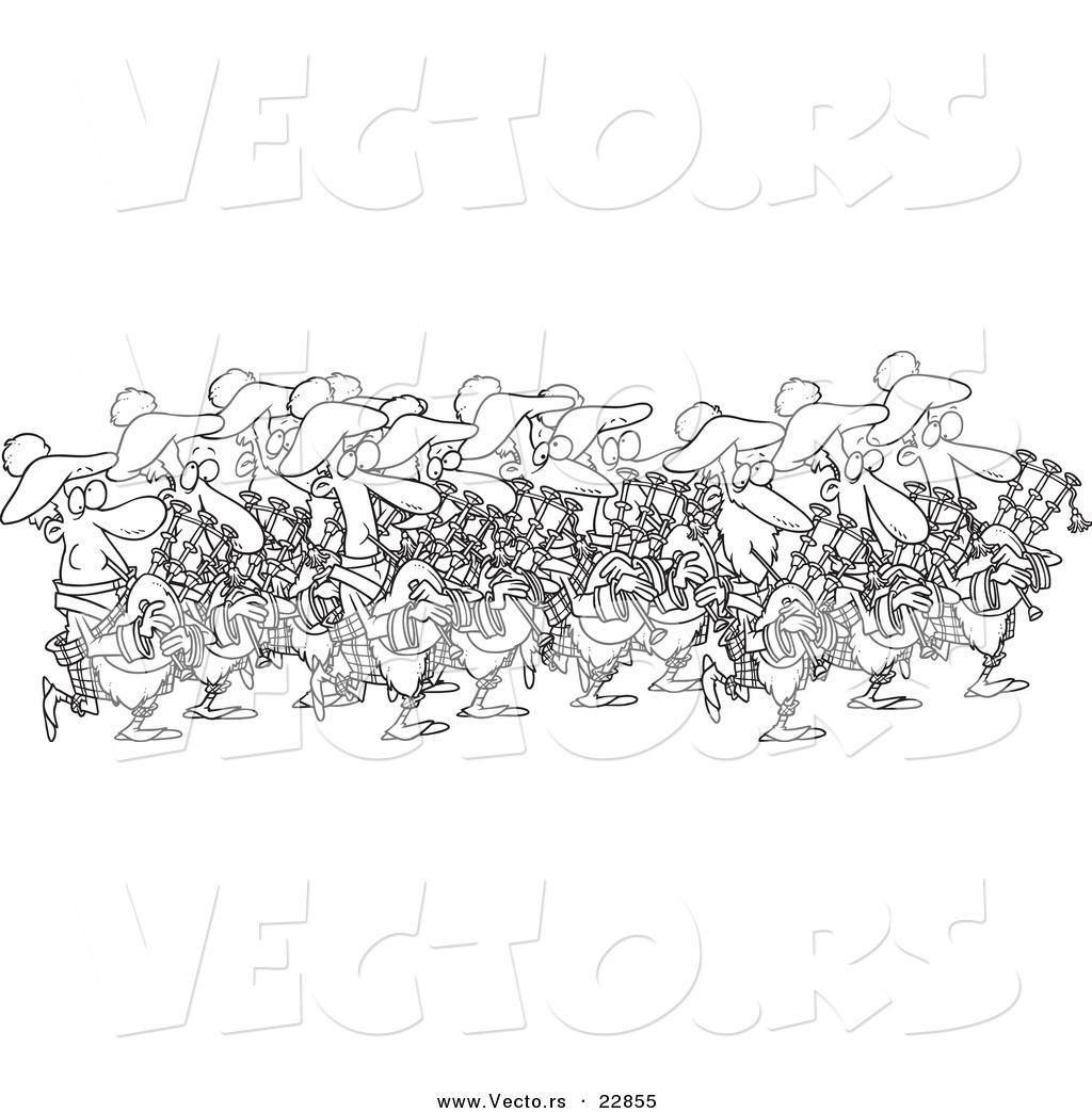 Vector of a Cartoon Group of Pipers - Coloring Page Outline by Ron ...