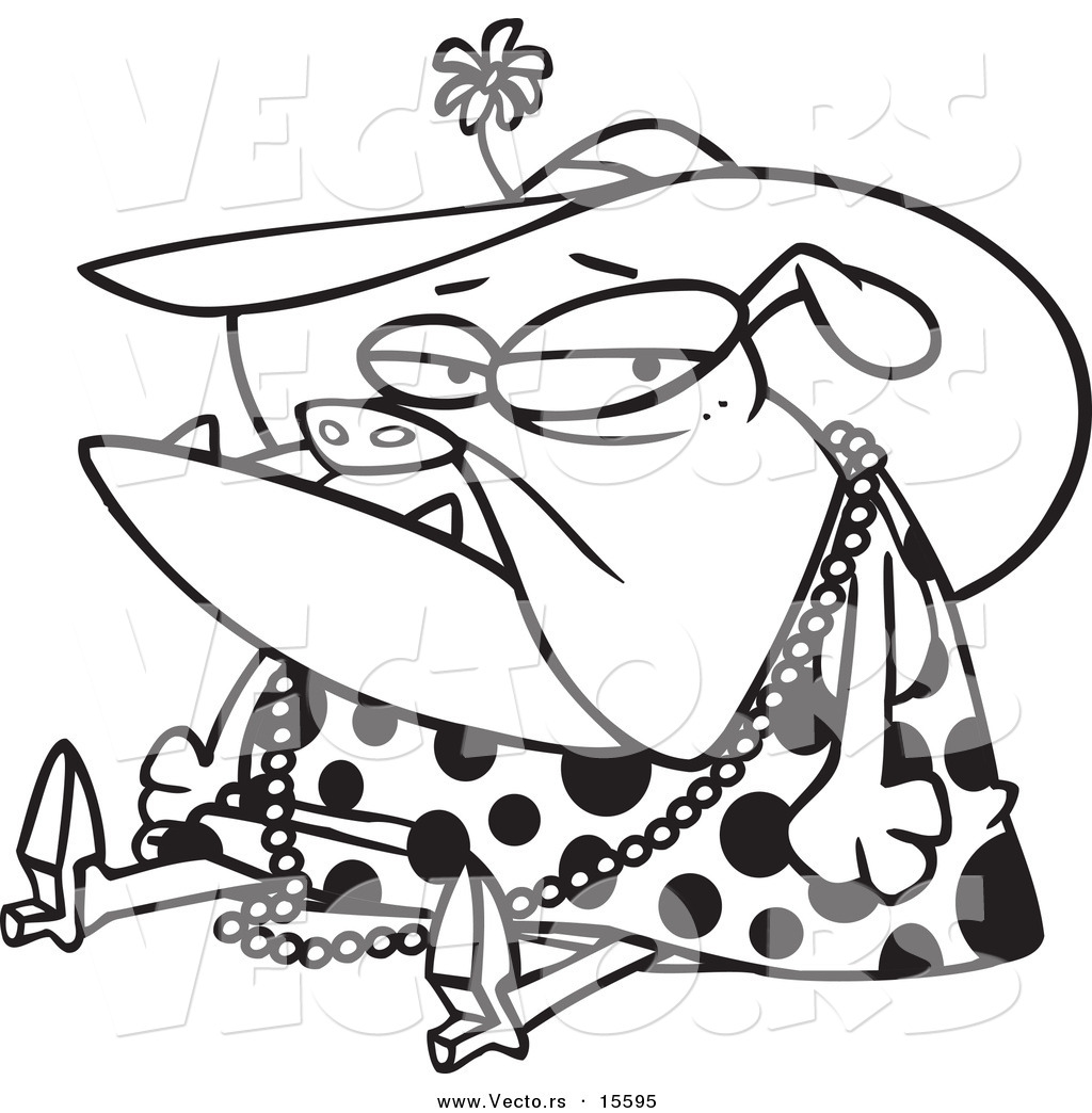 vector of a cartoon grumpy bulldog dressed in lady clothes