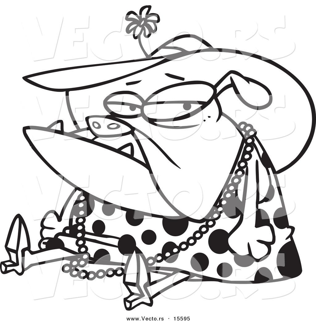 vector of a cartoon grumpy bulldog dressed in lady clothes