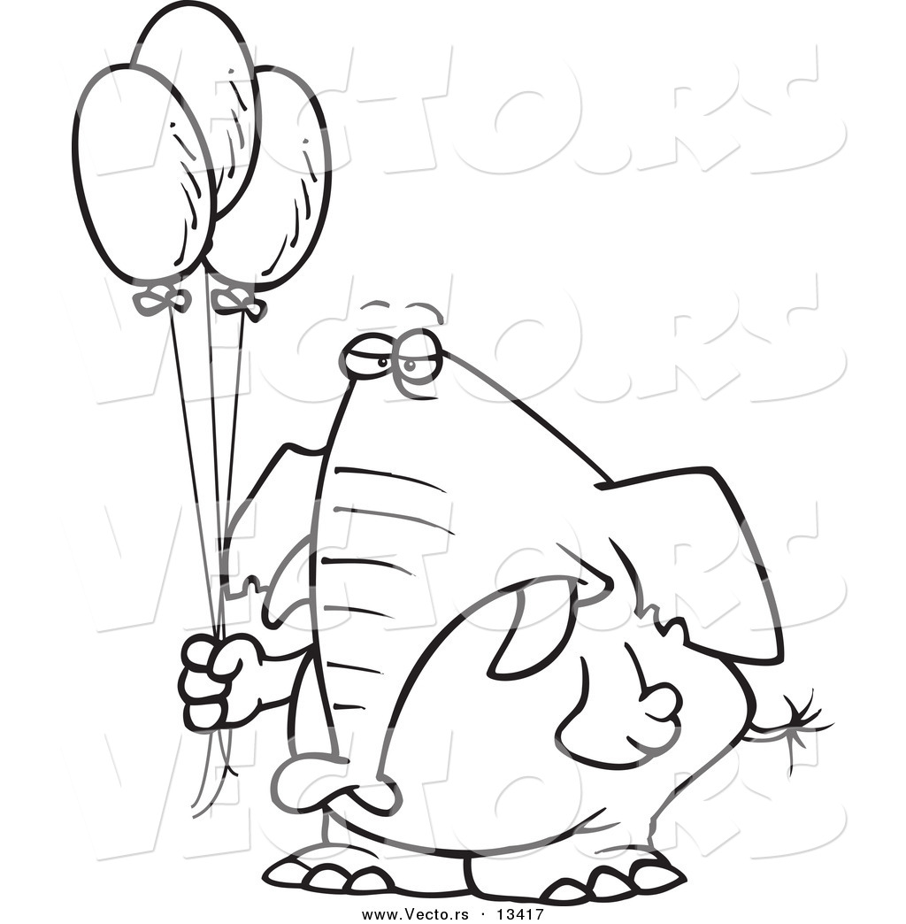 Vector Of A Cartoon Grumpy Elephant Holding Balloons