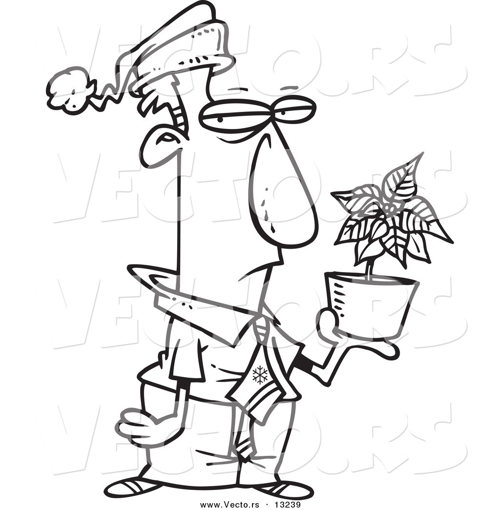 Vector Of A Cartoon Grumpy Employee Holding A Poinsettia Christmas Bonus Coloring Page Outline By Toonaday 13239
