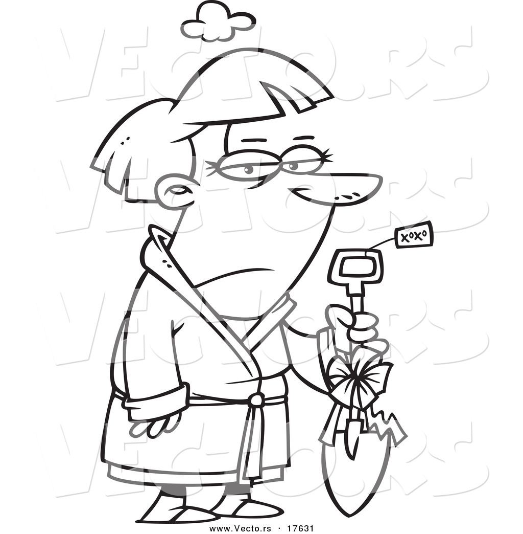 vector of a cartoon grumpy woman holding a shovel as a gift