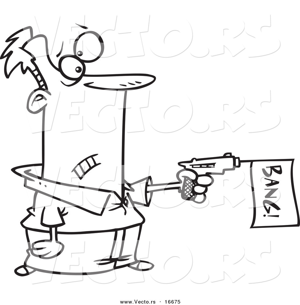 vector of a cartoon gun outlined coloring page drawing by