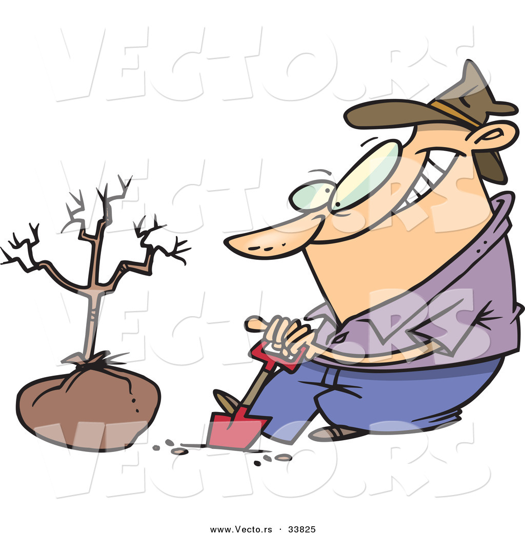 Vector Of A Cartoon Guy Digging A Hole With A Shovel Beside A New Tree By Toonaday 33825 Bunny surprise eggs animals cartoons for children oddbods full episode compilation | dress to impress funny cars cartoons with alien dance for kids how to calm down fast relaxation for. vecto rs