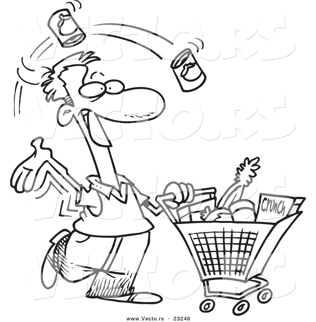 Vector Of A Cartoon Guy Grocery Shopping Coloring Page Outline By