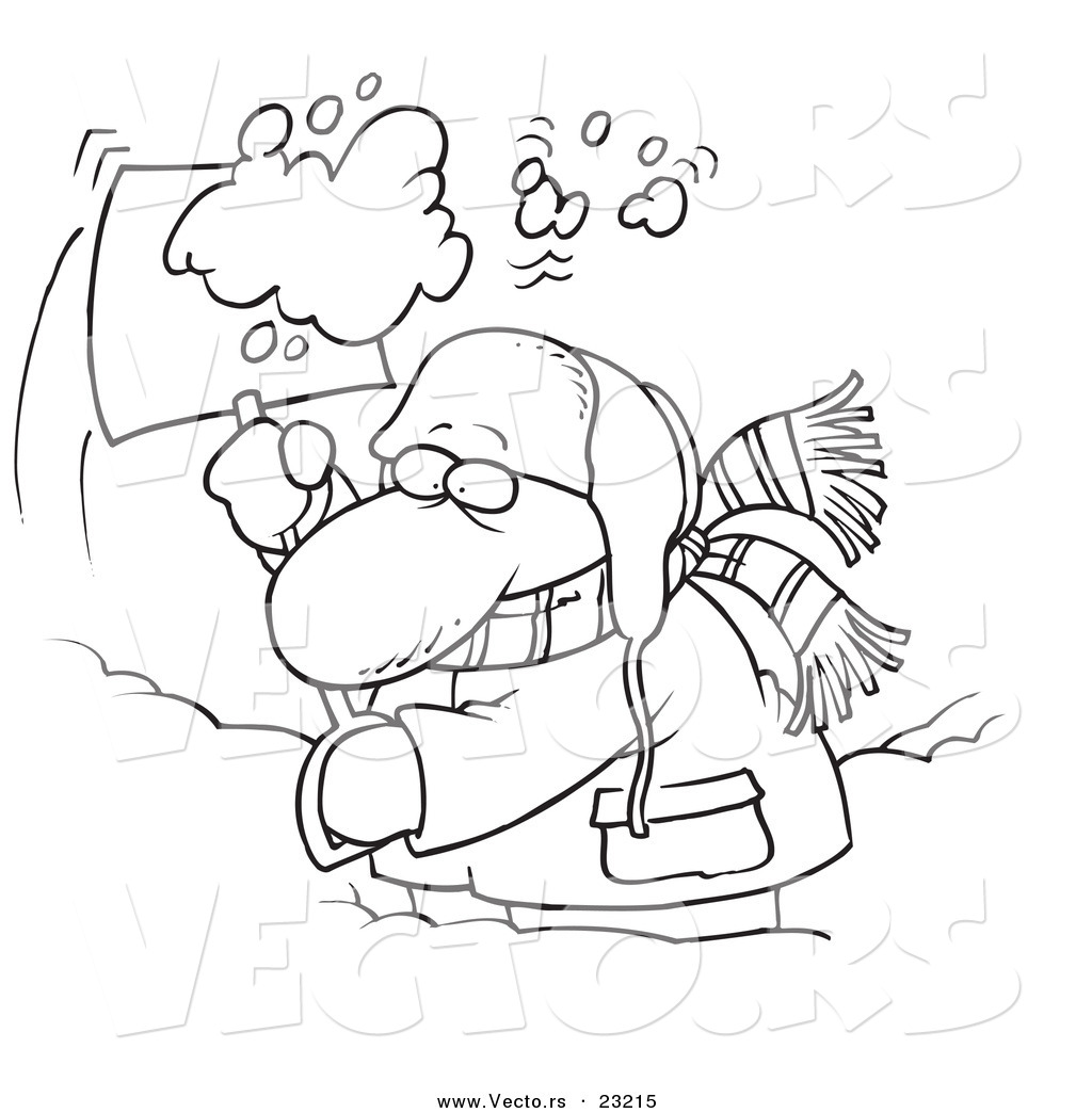 Vector of a Cartoon Guy Shoveling Snow Coloring Page Outline by