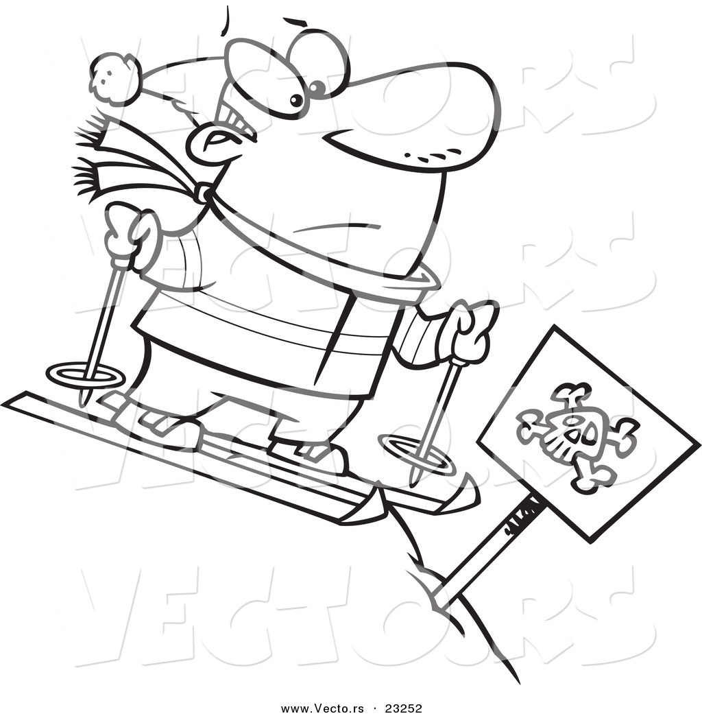 Vector Of A Cartoon Guy Skiing Down A Dangerous Slope Coloring - Danger-coloring-pages