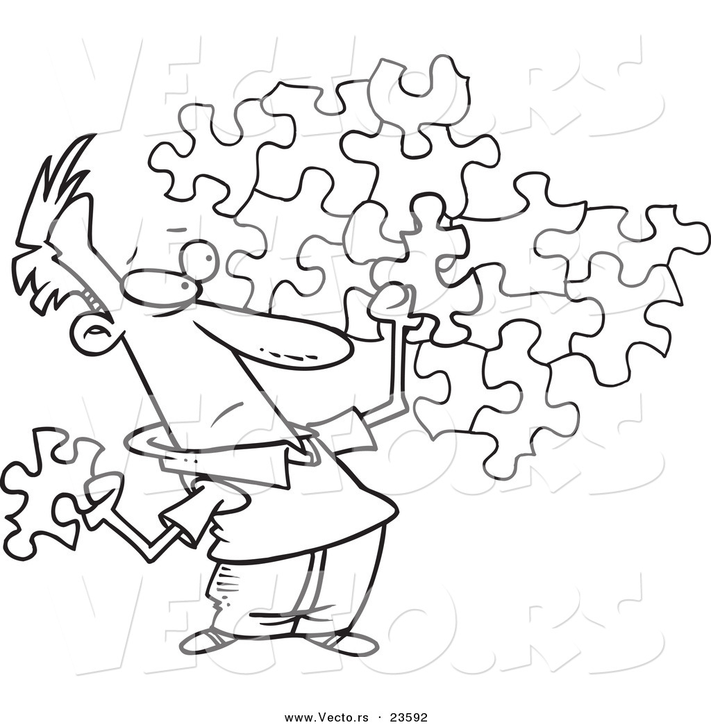 Vector Of A Cartoon Guy Trying To Assemble Puzzle