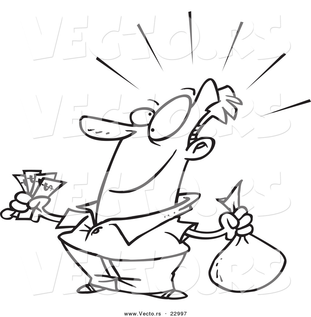 Vector of a Cartoon Guy with a Lot of Savings - Coloring Page ...
