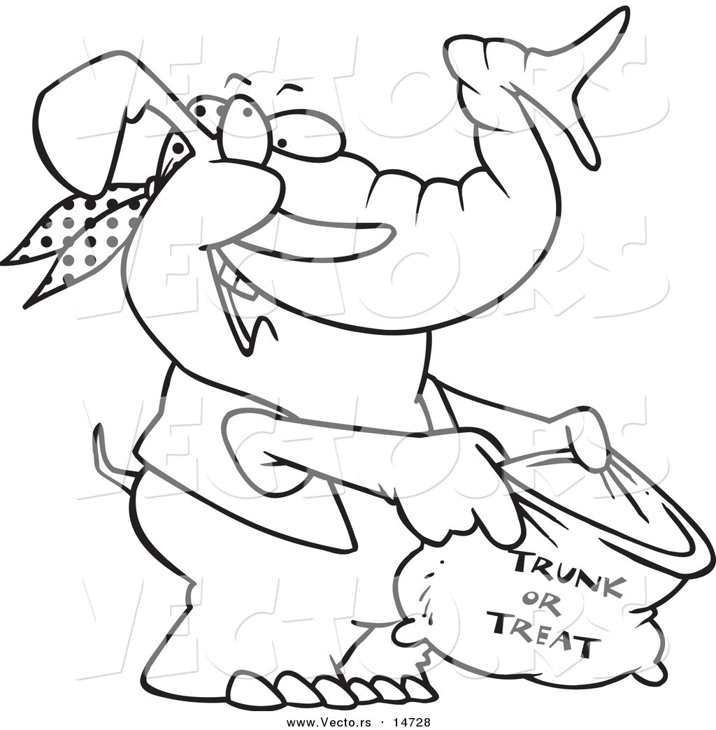 vector of a cartoon halloween elephant holding a trunk or treat