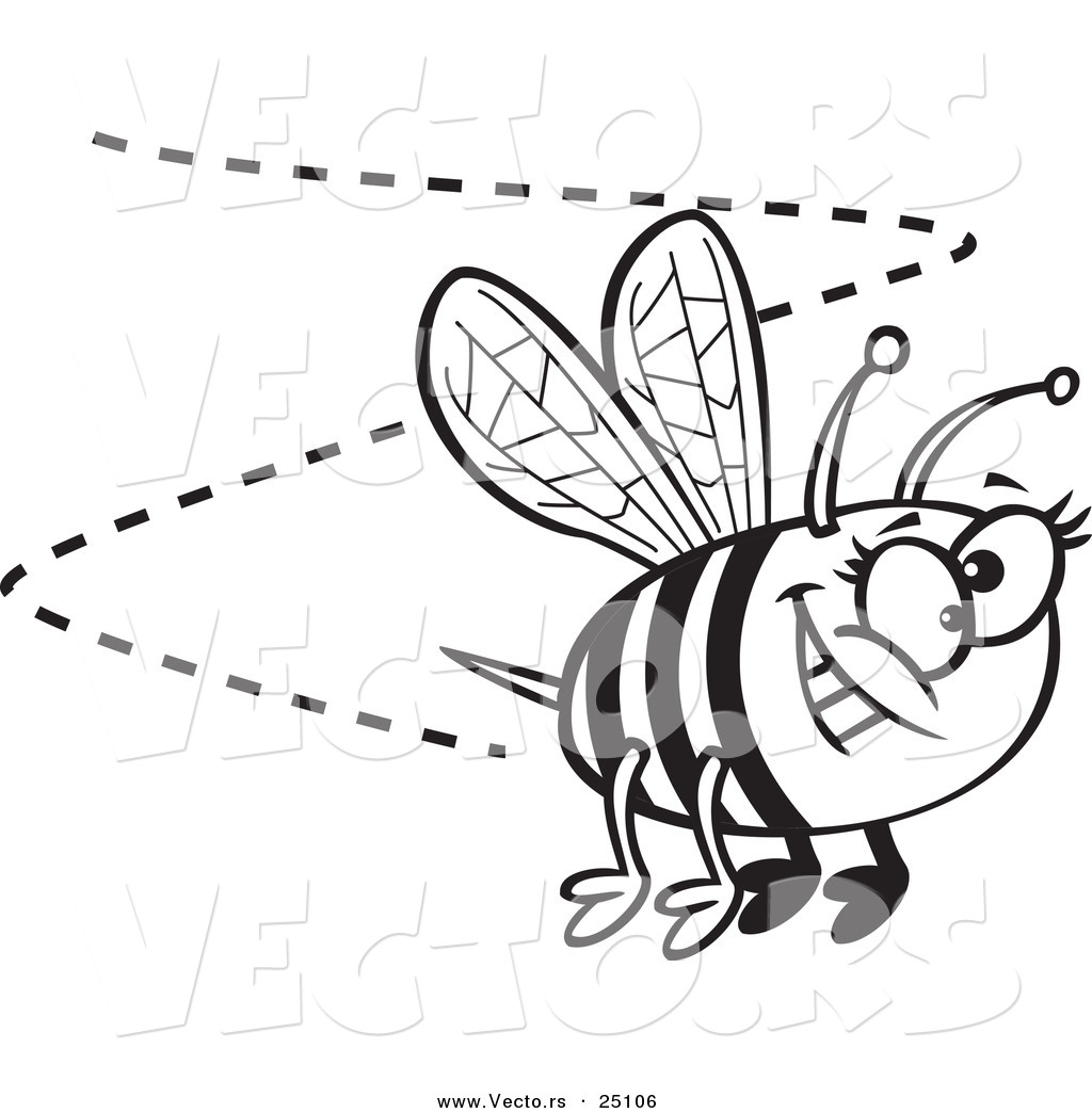 vector of a cartoon happy bee buzzing around coloring page