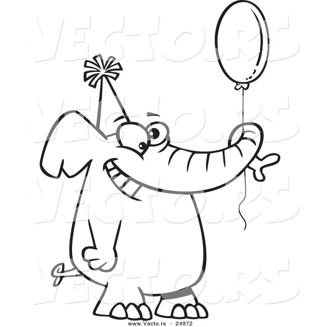 vector of a cartoon happy birthday elephant holding a balloon