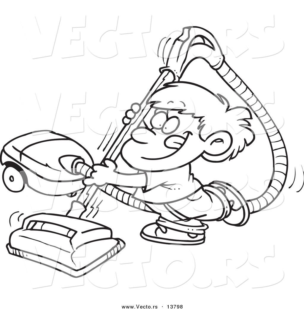 Vector of a cartoon happy boy using a vacuum coloring page outline