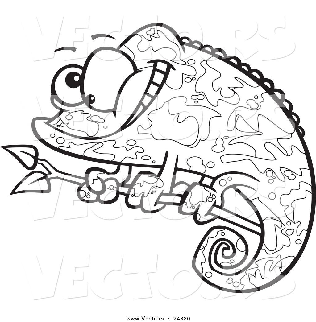 vector of a cartoon happy chameleon lizard with camoflauge