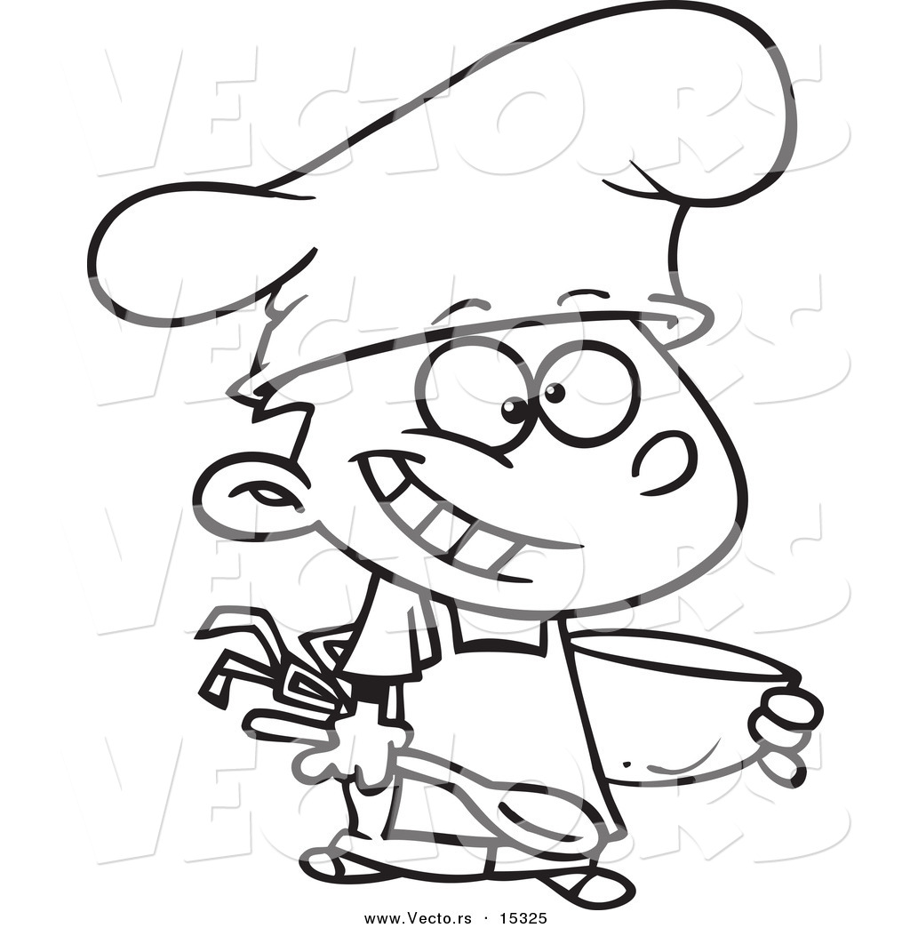 Vector of a Cartoon Happy Chef Boy Holding a Mixing Bowl