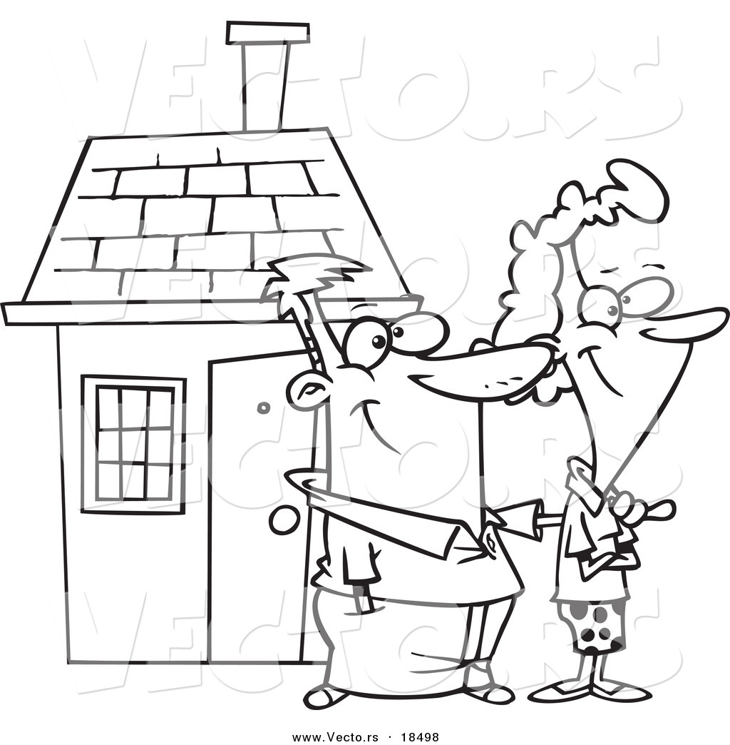 Coloring book real estate - Vector Of A Cartoon Happy Couple By Their Home Outlined Coloring Page