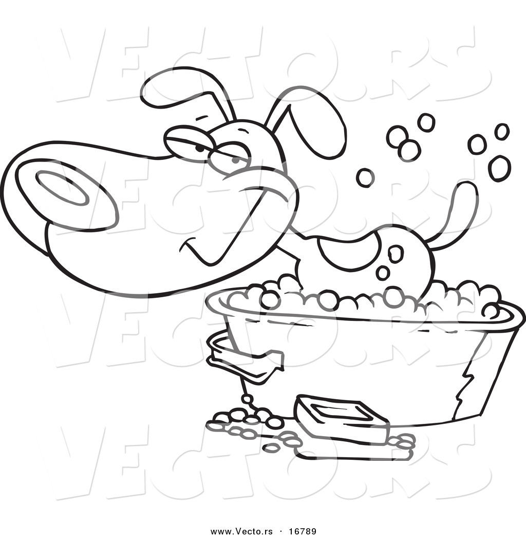 Dog Taking A Bath Coloring Pages