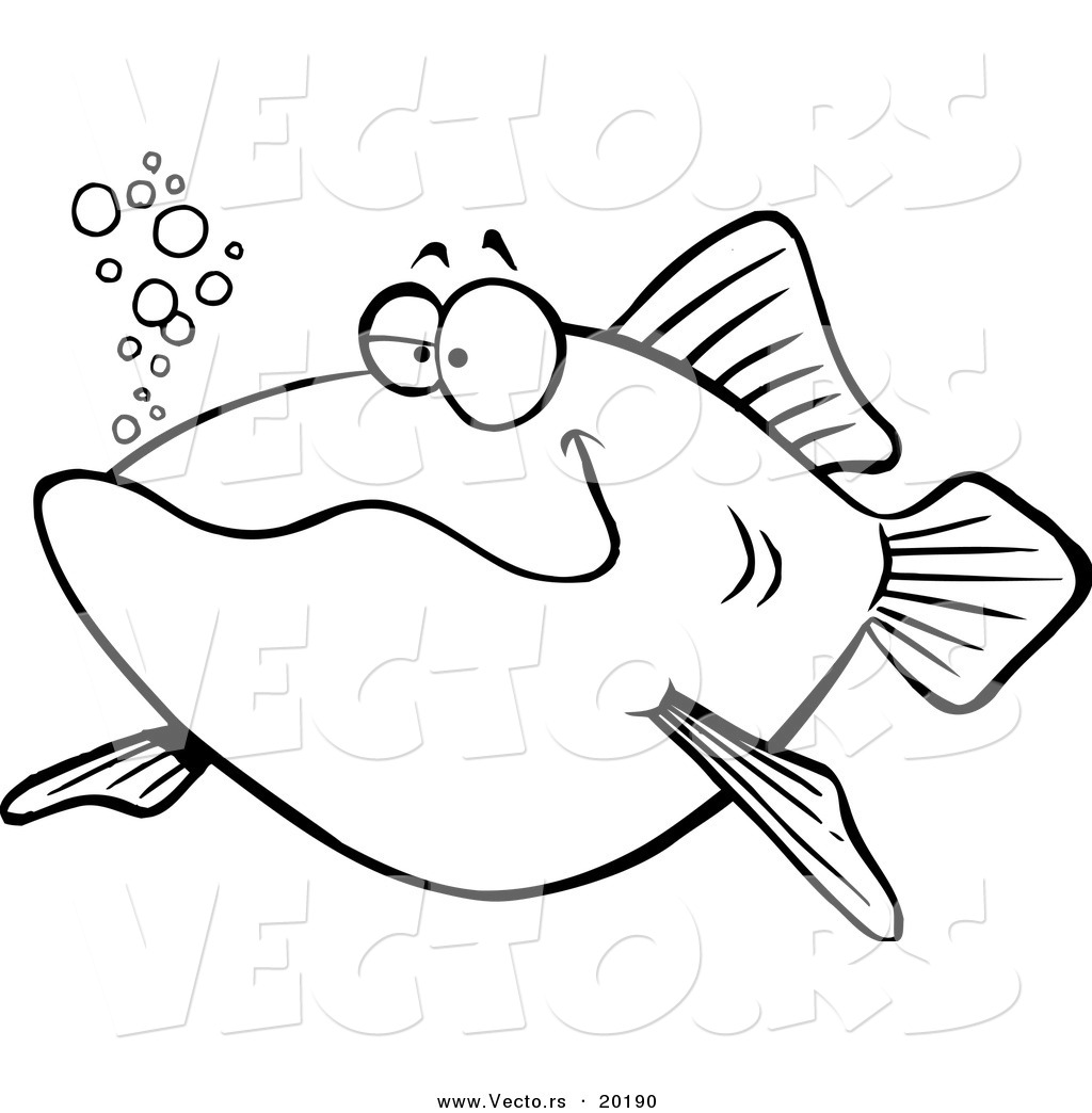 Vector Of A Cartoon Happy Fish