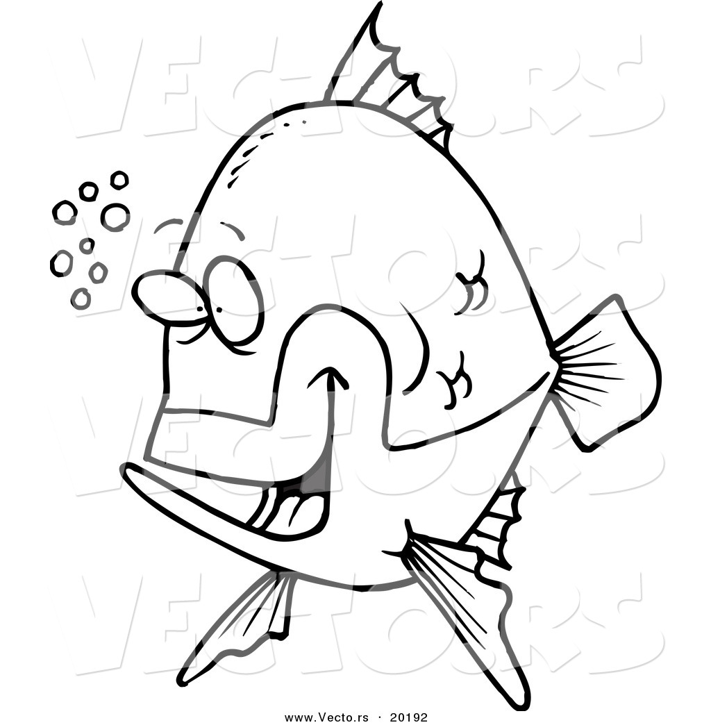 vector of a cartoon happy fish with bubbles outlined coloring