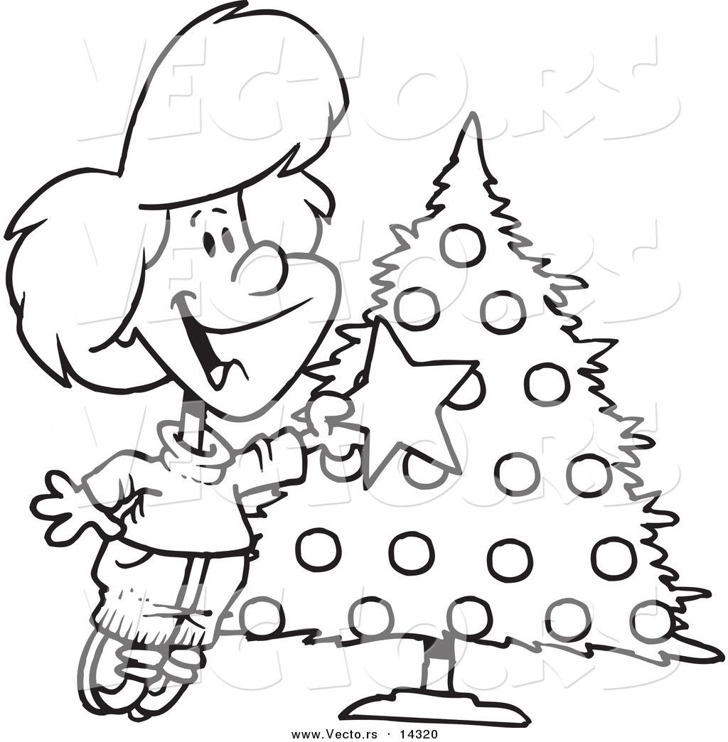 Vector of a Cartoon Happy Girl Decorating a Christmas Tree