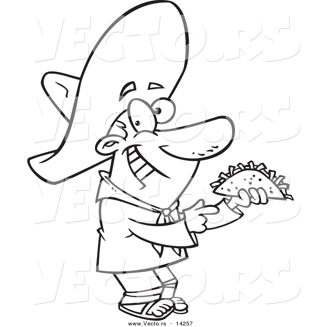 vector of a cartoon happy hispanic man holding a taco coloring