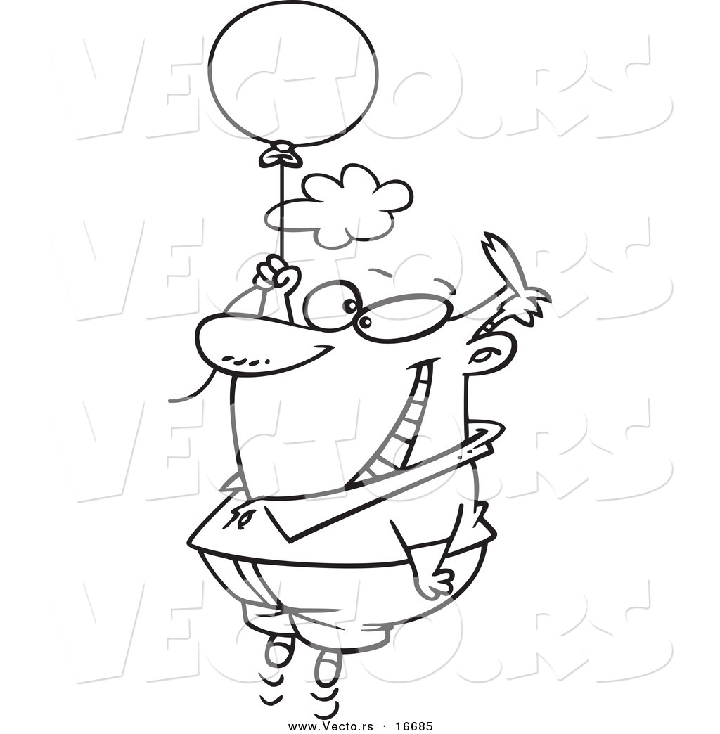 vector of a cartoon happy man floating with a balloon outlined