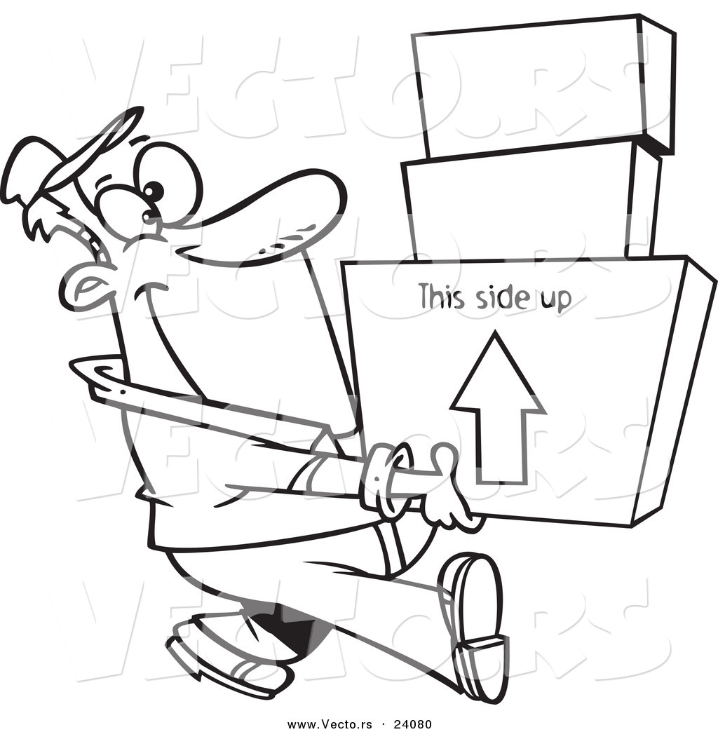 Vector of a Cartoon Happy Mover Man Carrying Boxes - Coloring Page ...