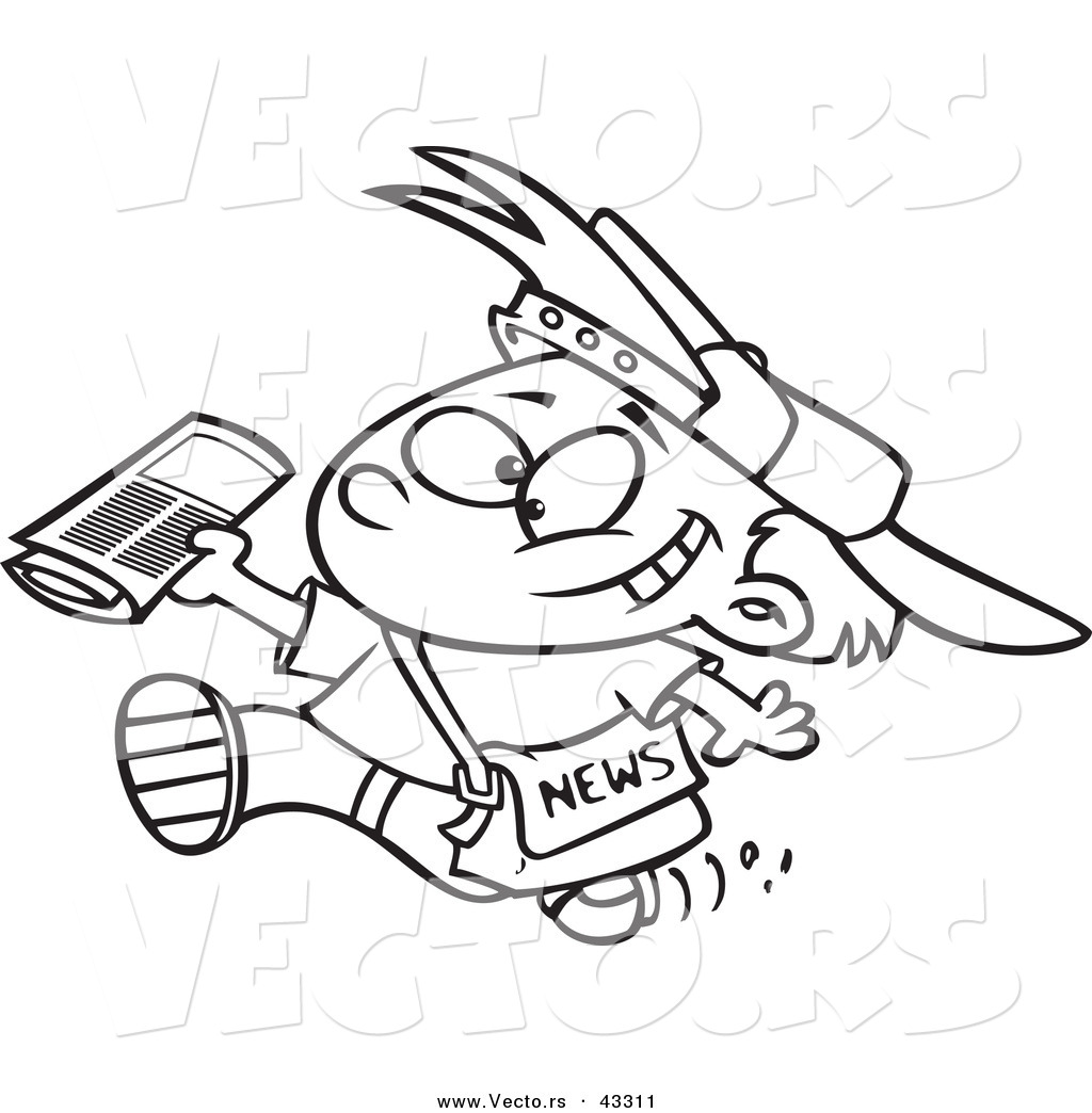 Vector Of A Cartoon Happy Paperboy Quickly Delivering Newspapers