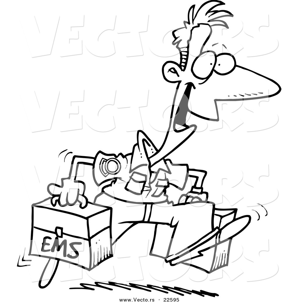 vector of a cartoon happy paramedic coloring page outline by
