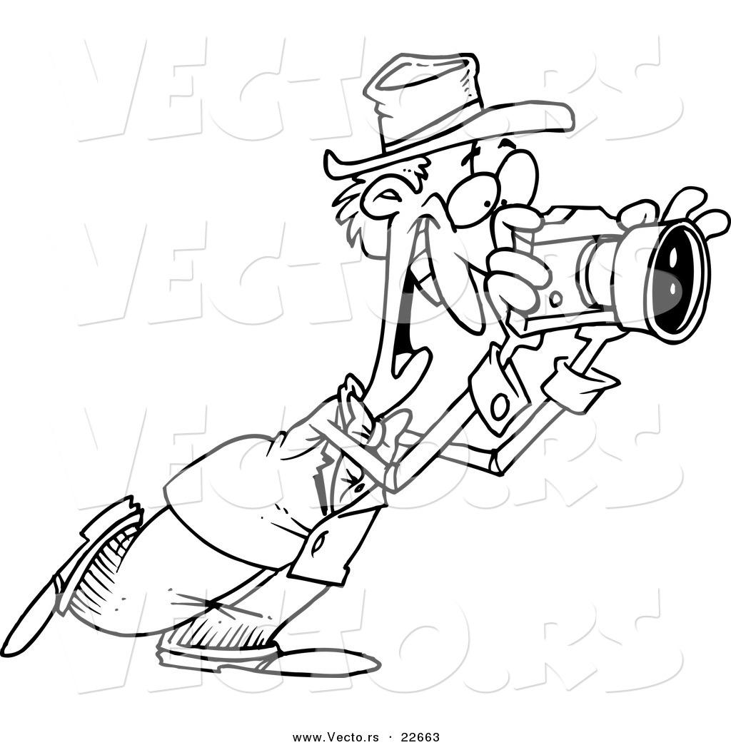 vector of a cartoon happy photographer