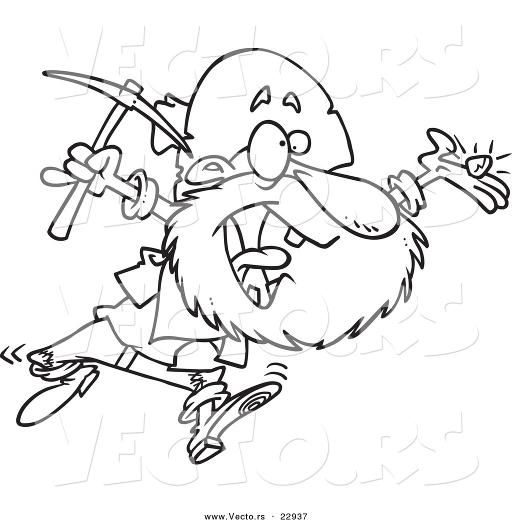 Gold rush coloring pages coloring page for kids vector of a cartoon happy prospector coloring page outline by biocorpaavc Gallery