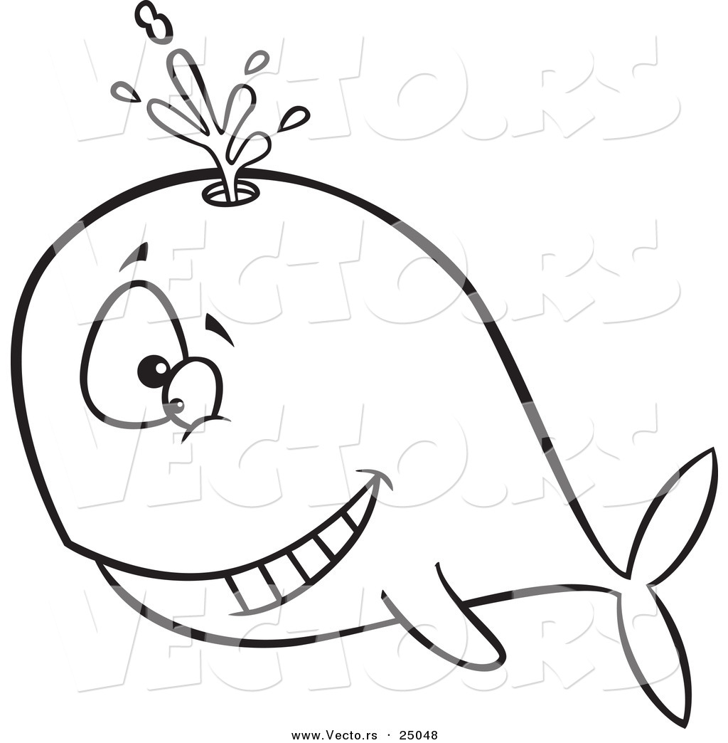 vector of a cartoon happy whale spouting outlined coloring page