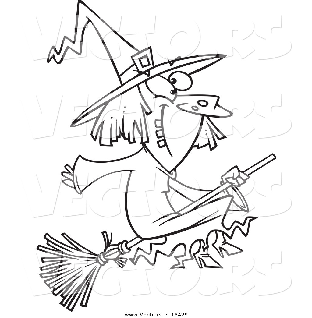 vector of a cartoon happy witch on her broomstick outlined