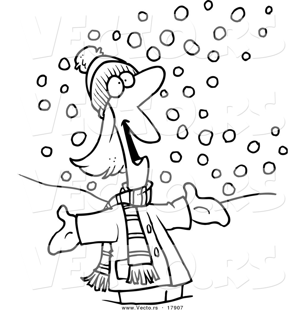vector of a cartoon happy woman in the snow outlined coloring