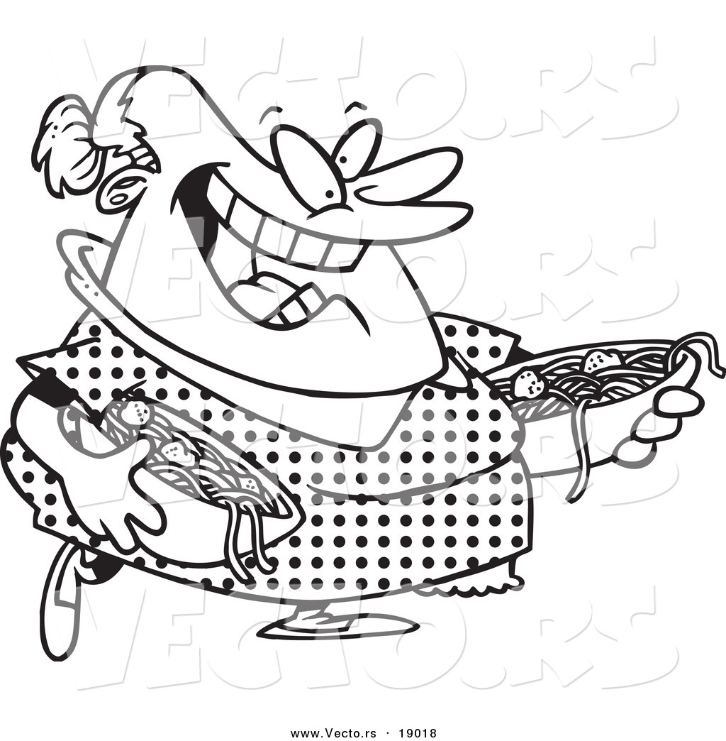 vector of a cartoon happy woman serving spaghetti and meatballs outlined coloring page