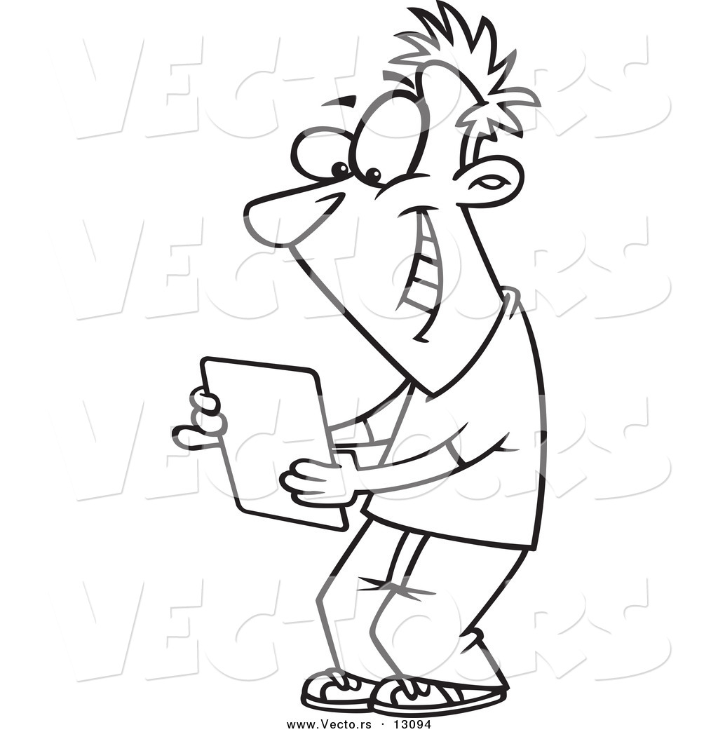 vector of a cartoon happy young man using a computer tablet